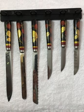 Набор ножей из нержавеющей стали с деревянными ручками хохлома