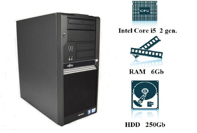 Компьютер, системный блок, ПК, Core I5, 2400, 4 ядра, 6 ОЗУ, 250 HDD