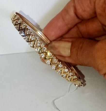 Золотой браслет жёсткий бриллиант 1,26 Ct жёлтое золото 585, Видео