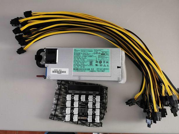HP 1200W - 80 Plus Platinum - Kit Completo Mining 17P + 17 cabos