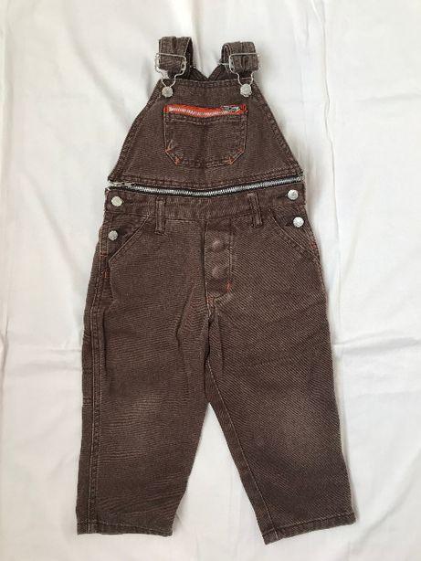 Brązowe ogrodniczki spodnie na szelkach rozm. 98