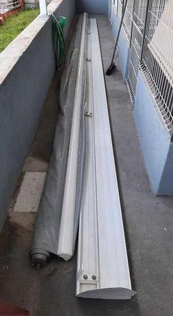 Toldo Manual branco com 7x4 metros com tela impermeável cinza