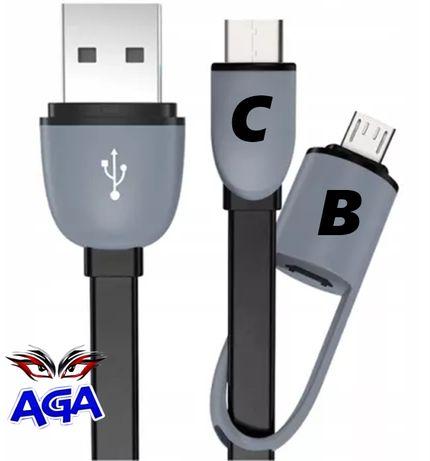 Przewód Do Ładowarki USB 2W1 MICRO USB B i C  100cm