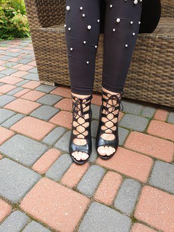 Wojas skórzane sandałki szpilki czarne odkryte palce rozmiar 38