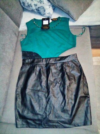 Sukienka z imitacja skóry butelkowa zielen nowa L
