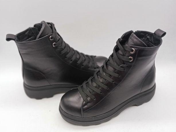 ЗНИЖКА-60 % Ботинки 0020 чорна шкіра зима   інстаграм vzutu