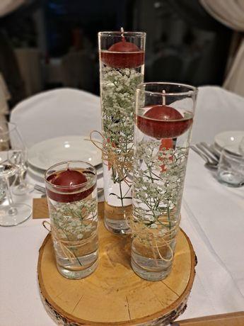 Komplety wazonów cylindry wąskie + plaster drewna -> rustykalne