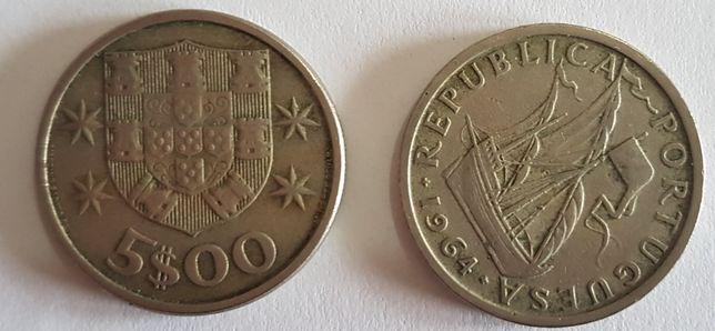 Moedas 5 escudos ano de 1964 a 1986