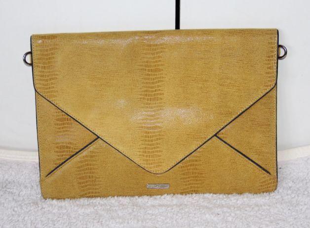 OCHNIK skóra BYDLECA torebka kopertówka żółta węża wąż skorzana bizuu