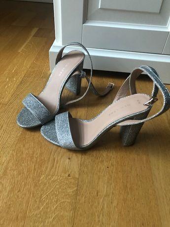 Sandały NEW LOOK srebrne wesle ślub sylwester 36 22,5 cm