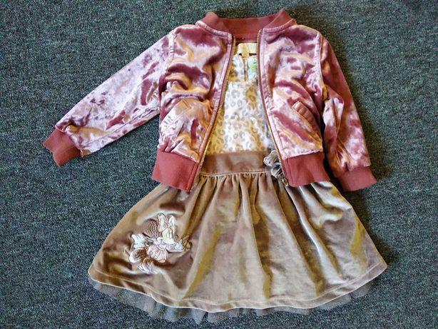 Нарядный велюровый комплект с Минни Маус. Платье + кофта