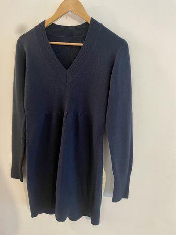Sweterek tunika / krótka sukienka akryl morski 38/40 M / L