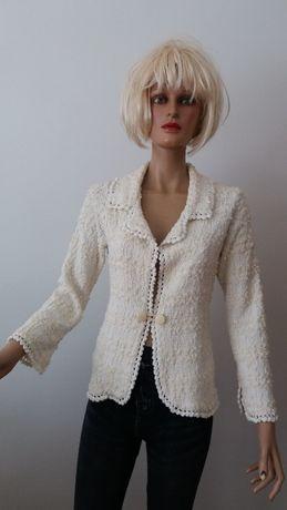 Sweter-żakiet ozdobny dzianinowy ecru r.40