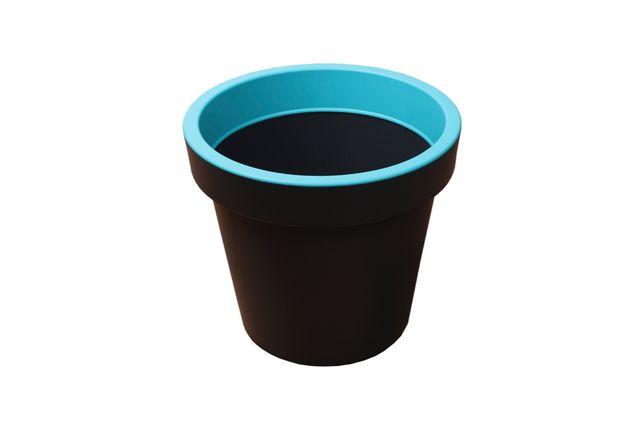 Donica okrągła L niebieska plastikowa doniczka szara WYSYŁKA!