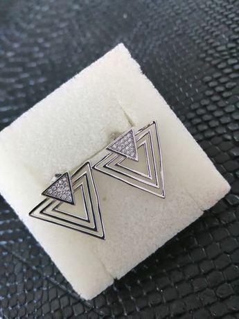 Srebrne kolczyki srebro próbka 925 geometryczne