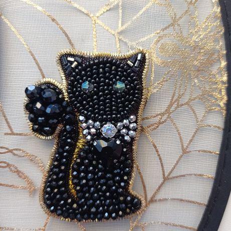 Брошь черный кот на Хэллоуин