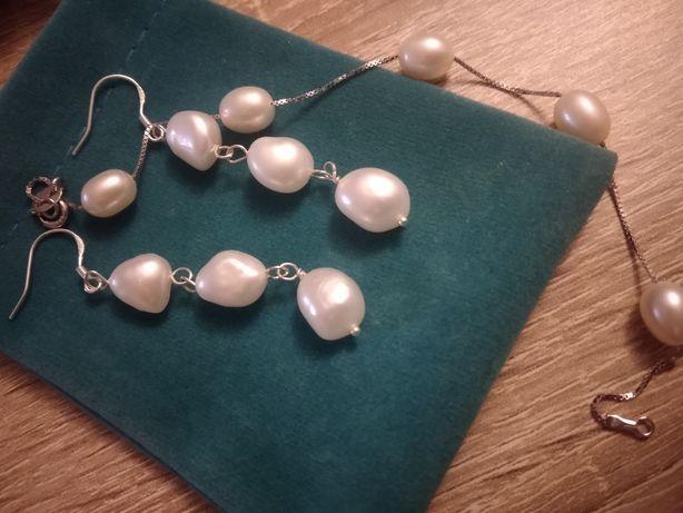 Kolczyki i bransoletka z perłami