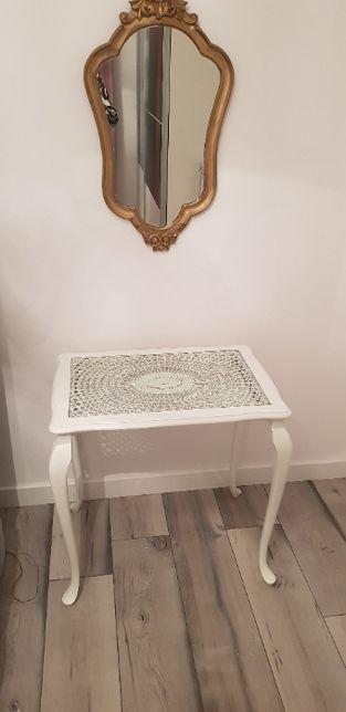 Stolik z lustrem - mini biała toaletka ludwikowska