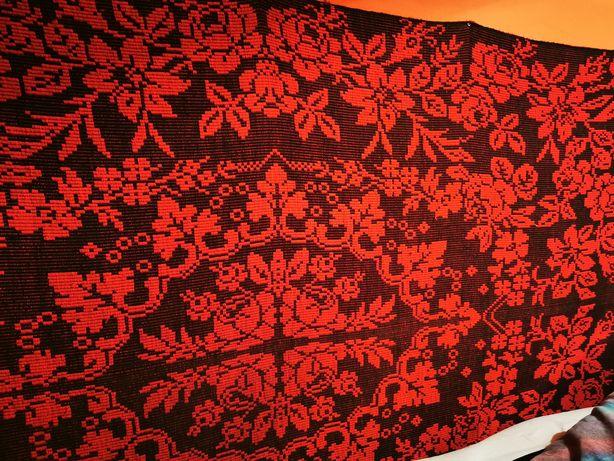 Narzuta, kapa, dywan wybierany 210x130 cm, czarny różowy. Rękodzieło