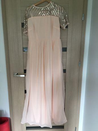 Piękna długa morelowa pudrowa różowa sukienka ASOS cekiny L/XL wesele
