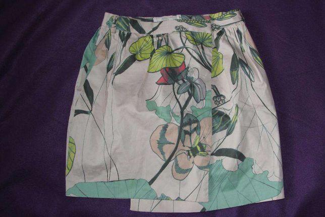 Spódnica mini floral H&M Conscious Collection roz. 34 kopertowa
