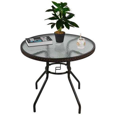 NOWY Stół stolik szklany okrągły rattan