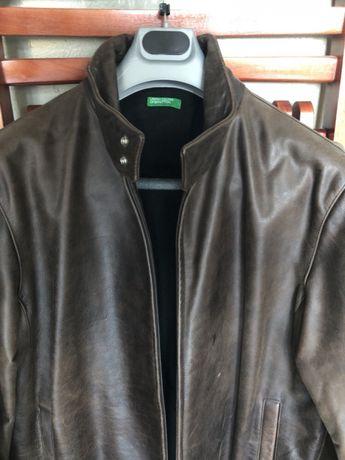 Casaco de cabedal Benetton (pele autêntica) Novo