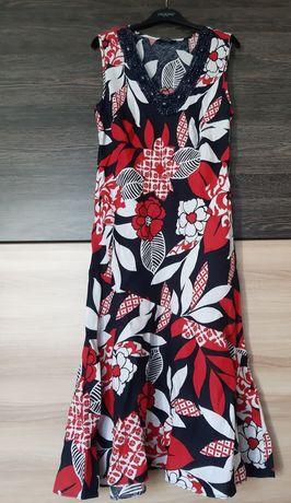 Sukienka lniana letnia w kwiaty