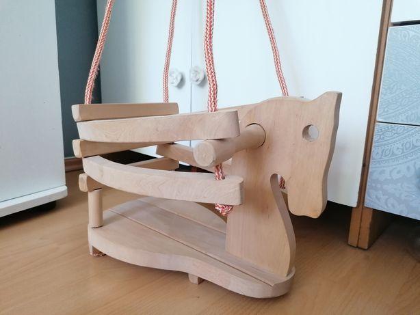 Huśtawka drewniana dla dzieci konik