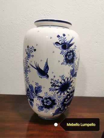 Duży wazon biały granatowy z kwiatami ptaszkami nie bavaria
