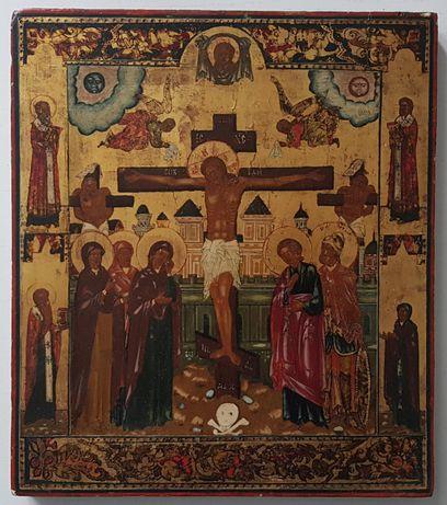 Ikona Ukrzyżowanie Jezusa Chrystusa, po bokach Święci, Rosja XIX wiek