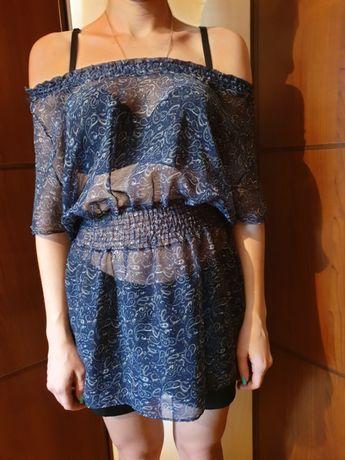 Синяя летняя туника блузка блуза
