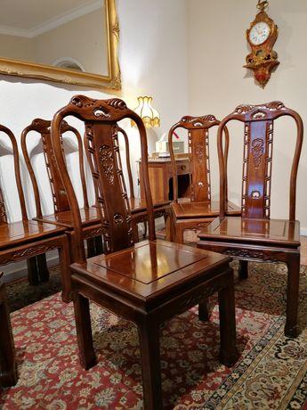 Conjunto 8 oito Cadeiras Chinesas. Oriente Ásia, Macau China. Pau-rosa