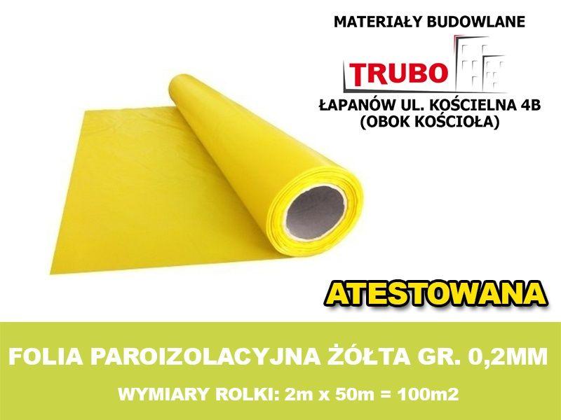 FOLIA PAROIZOLACYJNA ŻÓŁTA gr. 0,2mm 2mx50mb - atest Łapanów - image 1