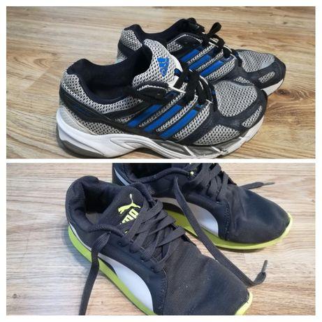 Buty sportowe szaro-niebieskie adidas i puma z zielonym rozmiar 37,38