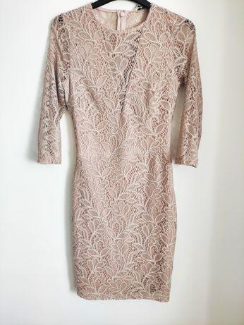 Śliczna koronkowa sukienka 36 S chrzciny wesele przyjęcie
