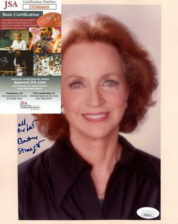 Zdjęcie oryginalny autograf Beatrice Straight 8x10 Certyfikat JSA