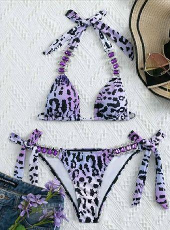 Bikini strój kąpielowy panterka fioletowy cyrkonie kamienie l