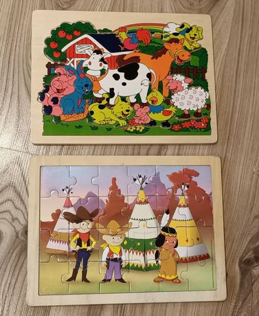 Puzzle drewniane układanka Bolek i Lolek farma indianie na prezent