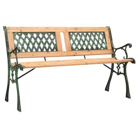 vidaXL Banco de jardim 122 cm ferro fundido e madeira de abeto maciça 312033