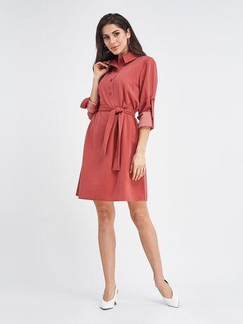 Терракотовое платье-рубашка с присборенными рукавами