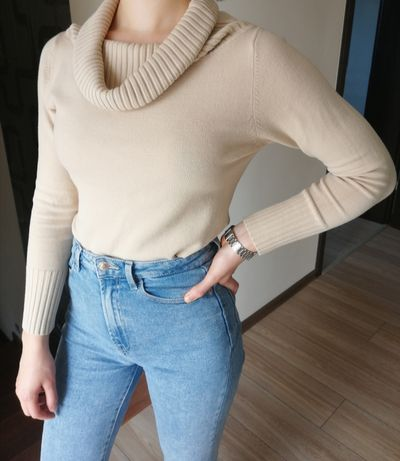 Sweter beżowy kremowy M golf