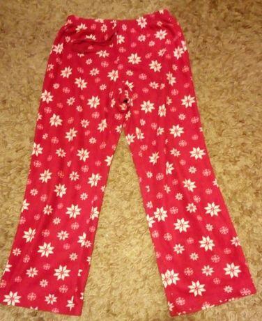 """Cieplutkie spodnie polarowe czerwone """"w gwiazdki"""" rozmiar 40-42 (L)"""