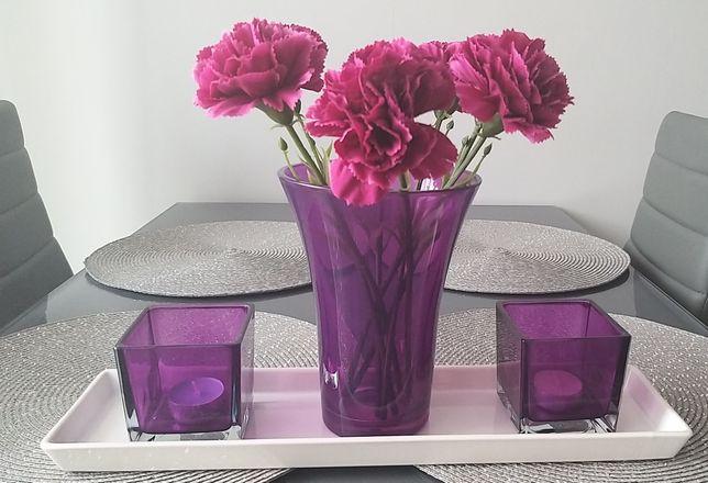Zestaw dekoracyjny wazon świecznik kwiaty