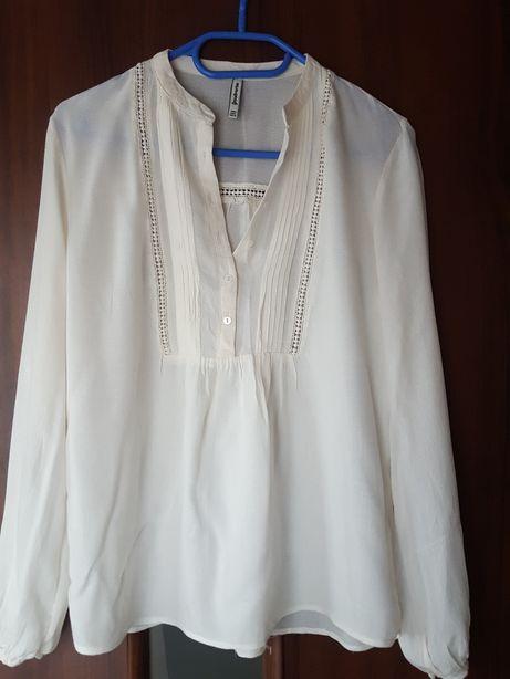 Bluzka z długim rękawen, koszula kremowa mgiełka, Stradivarius rozm. S