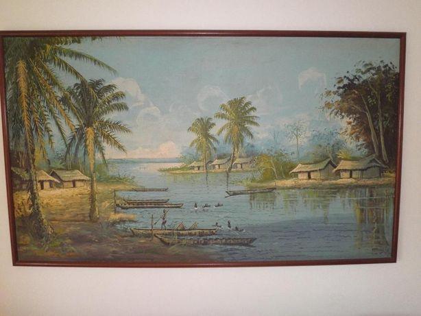 Pintura sobre tela 140x90 com aldeia em africa (baixei preço)