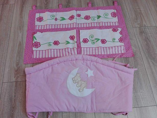 Ochraniacz i organizer do łóżeczka dla dziewczynki
