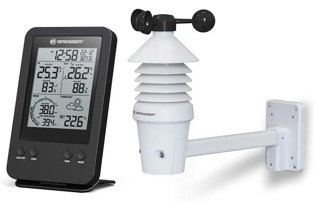 Pluviómetro Termo Higrómetro Bresser Relógio Radio Temperatura externa