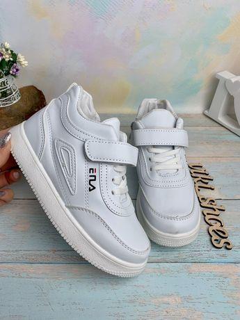 25-27р Демисезонные ботинки кроссовки на девочку новые фила белые