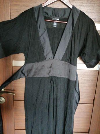 Sukienka H&M kimono czarna XS 34 satyna